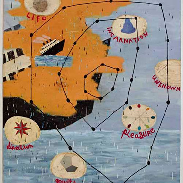 """Squeak CarnwathStar Chart, 2012Oil and alkyd on canvas over panel, 75 x 65"""""""