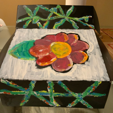 Ailey Haynes, Ecology (3/4 view),Painted Object Sculpture, paint on shoe box