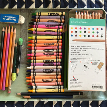 Marilyn August, tray of mixed media art supplies