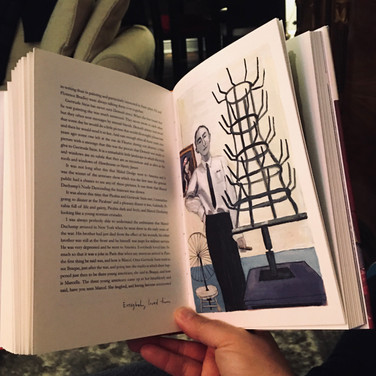"""Dennis Buonagura, """"Reading Autobiography of Alice B. Toklas, by Gertrude Stein, Illustrated by Maira Kaman 2."""", 2020, photograph"""