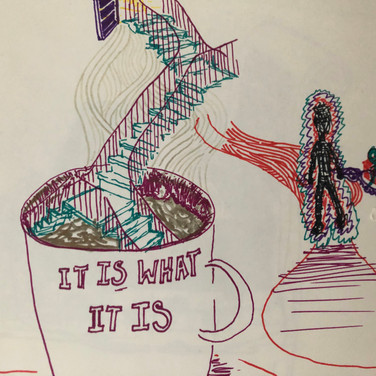 Quentin Williamston, Guided Visualization (beverage, stairs, visitor and advice), 2020, sharpie on paper