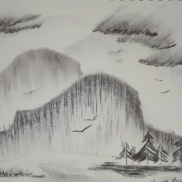 """Kevin Anderson, """"Imaginary Landscape"""", 2020, vine charcoal and water on paper"""