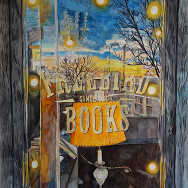 """Meridith McNeal, """"Inside Outside Freebird Books (Red Hook, Brooklyn)"""", 2019, water color on paper, 75x55"""""""