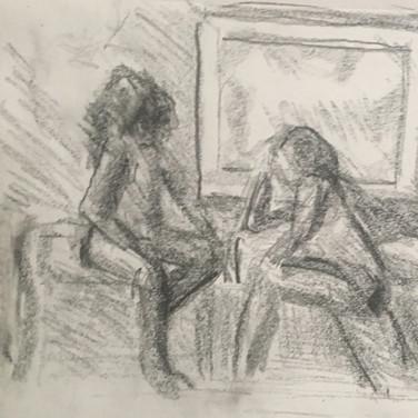 Jane Huntington, Figure Drawing 2 (Zoom 4/13/20), pencil on paper