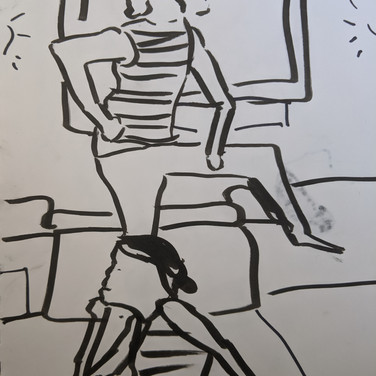 Zeke B., Figure Drawing (Zoom 4/13/20), ink on paper