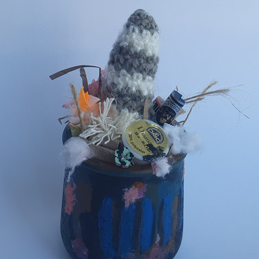 Sarah Sumgumji, Environmental Concerns, Painted Object Sculpture, painte, jar, knitted yard and found objects