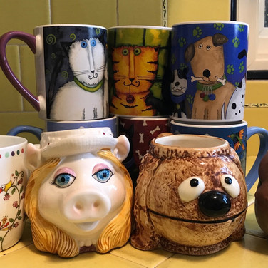 """Marilyn August, """"Yes, coffee!  But which mug??"""", 2020"""
