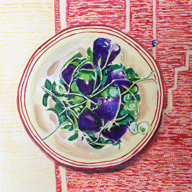 """Meridith McNeal, """"Magical Things from Quarantine Purple Potato Salad on Turkish Tablecloth"""", 2020, watercolor on canvas"""