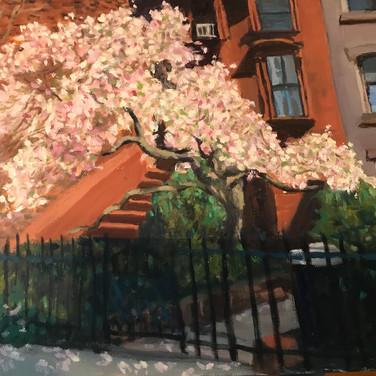 Felix Plaza, Flowering Tree Clinton Hill Brownstone, 2020, paint on canvas