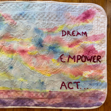 Meridith McNeal, Dream/Empower/Act - the power of ART YARD and its Artists, Painted Object Sculpture, painted and embroidered pillow sham