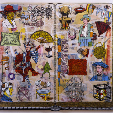 "Jane HammondIrregular Plural, 1995 Oil and mixed media on canvas, 73"" x 87"""