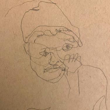 Fatima Traore, Blind Contour Portrait, Advanced Studio Zoom May 4, 2020