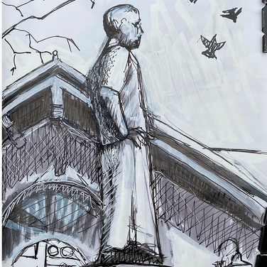 Marie Roberts, Statue of Dr. Sun Yat Sen in my last wander and draw in early March.