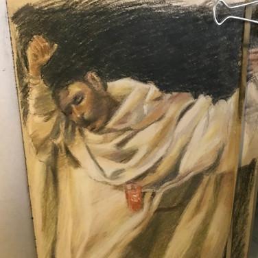 Felix Plaza, Figure drawing, 2020, pastel pencils in sketchbook