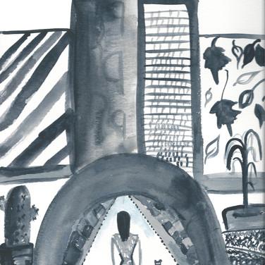 Sarah Gumgumji,  Image 1 Zoom Visualization 4/20, watercolor on paper