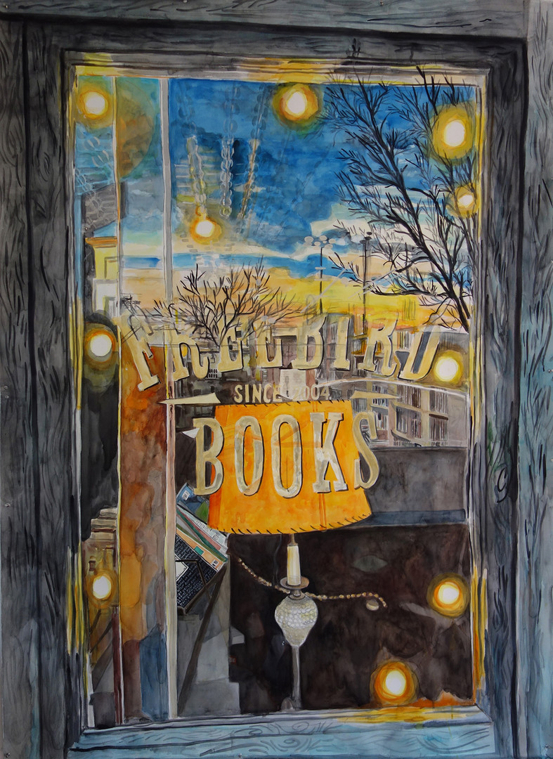 "Meridith McNeal, Inside Outside: Freebird Books (Red Hook, Brooklyn), watercolor on paper, 75x55"", 2019"