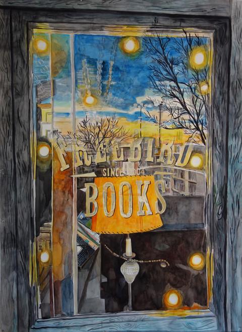 "Meridith McNeal, Inside Outside: Freebird Books (Red Hook, Brooklyn), watercolor on paper, 75x55"", 2019"
