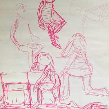 Abriel Gardner, Figure Drawing 2 (Zoom 4/13/20), colored pencil on paper