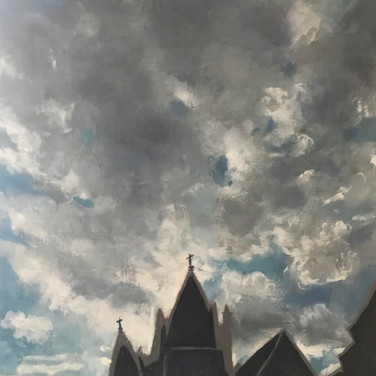 Felix Plaza, St. Veronica and Clouds, 2020, oil paint on canvas