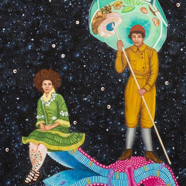 Lezley Saar Not Born Under a Rhyming Planet, 2014, Painting on canvas