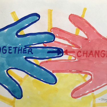 Marilyn August, Together > Change, 2020, paint and marker on paper