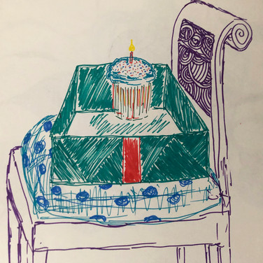 Quentin Williamston, Guided Visualization (a seat and a gift), 2020, sharpie on paper