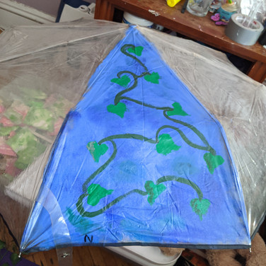 TJ Edgar, Global Warming and the Environment, Painted umbrella (in progress 1), Painted Object Sculpture, paint on umbrella