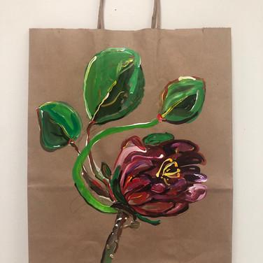 Claudia Alvarez, Bag for Food Drive, Painted Object Sculpture, paint on paper shopping bag