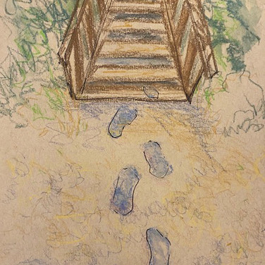 Fatima Traore, Guided Visualization (stairs), 2020, ink and colored pencil on paper