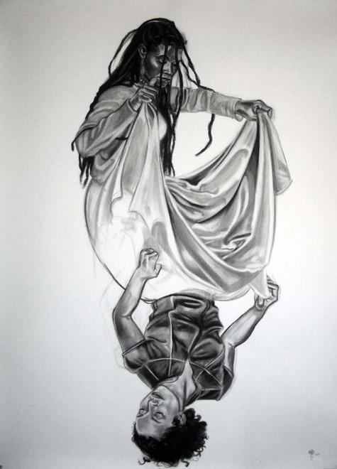 "Nina Buxenbaum, Zoe/Amber, 2005, Charcoal, 52x72"""