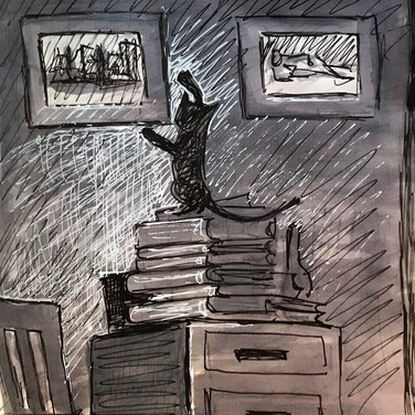 """Marie Roberts, """"Frances Stepping on Books in Order to Rearrange the Art"""", 2020, ink on paper"""