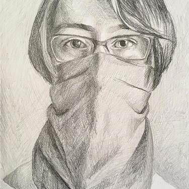 """Evelyn Beliveau, """"Self Portrait in Mask"""", 2020"""