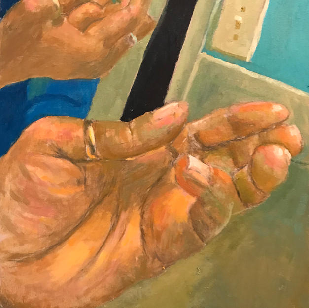 Depict a REFLECTION of a hand