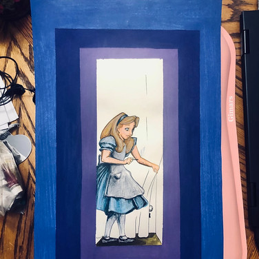 """Jennifer Dodson, """"Alice Enchanted"""" (in process), 2020, acrylic paint, color pencil, and microns"""