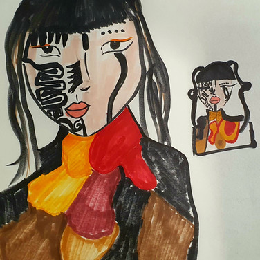 Sarah Gumgumji, Angelica Portrait 1, Advanced Studio Zoom, Apr. 27, 2020