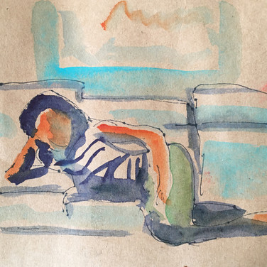 Meridith McNeal, Figure Drawing 2 (Zoom 4/13/20), pen and watercolor on paper