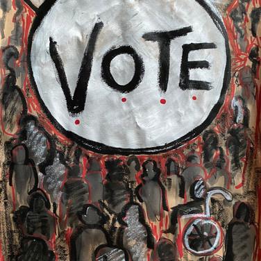 Marie Roberts, VOTE, 2020, ink on paper