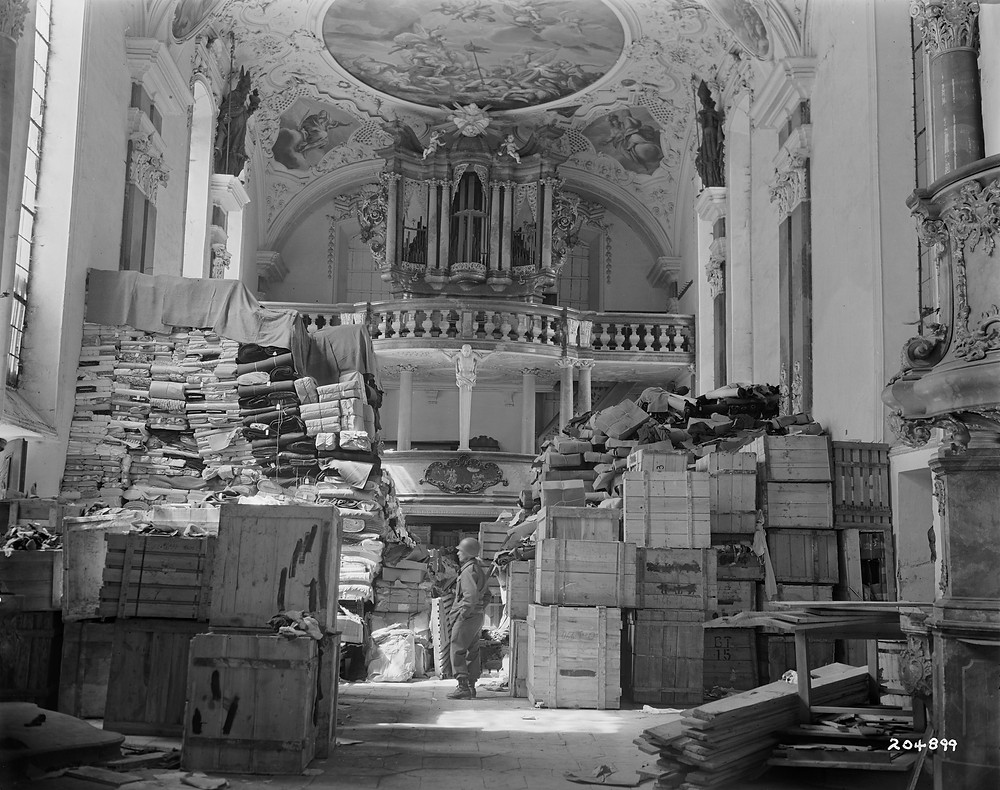 Loot - German loot stored at Schlosskirche Ellingen (Ellingen (Bavaria), Germany) found by troops of the U.S. Third Army.
