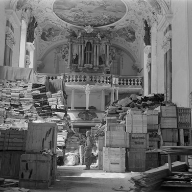 US Army officer or employee, Looted Art (Archival Photograph), 1945