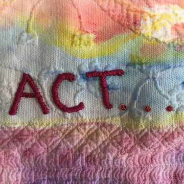Meridith McNeal, Painted Object, Dream/Empower/Act - the power of ART YARD and its Artists, painted and embroidered pillow sham (in progress)