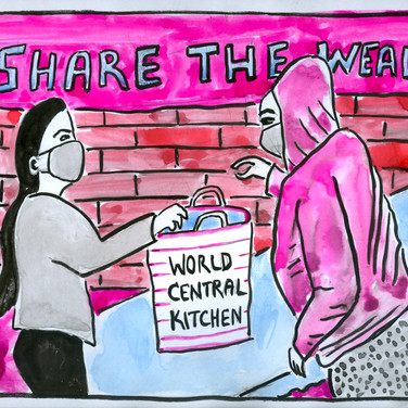 Ed Rath, Share the Wealth World Central Kitchen, 2020, ink on paper