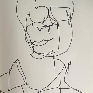 Marie Roberts, Blind Contour Portrait, Advanced Studio Zoom May 4, 2020