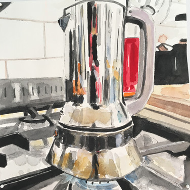 """Meridith McNeal, Magical Things from London Coffee Pot, 2018, watercolor on paper, 12x12"""""""