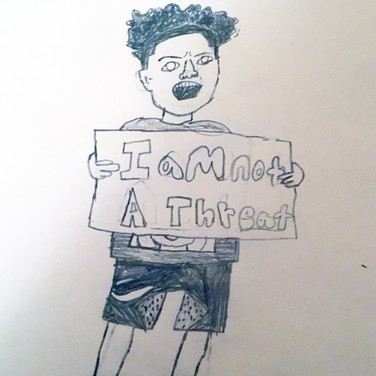 Zahir Prudents, I am NOT a Threat, 2020, pencil on paper