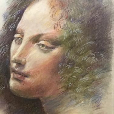 Felix Plaza, Portrait drawing, 2020, pastel pencils on paper