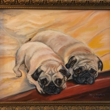 Dennis Buonagura, our dogs are Hazel and Olive.  Arlene Horton painted in 2010.