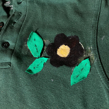 Sigrid Dolan, Upcycling Clothing for the Better of the Environment, Painted Object Sculpture, stenciled paint, recycled fabric, thread and glue on shirt