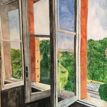 """Meridith McNeal, Inside Outside Triple Roman Window, 2018, watercolor on paper, 78x55"""""""