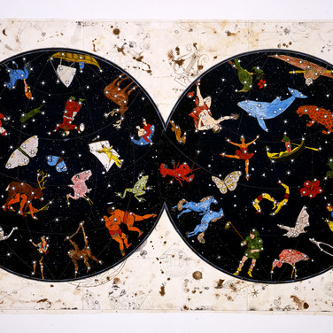 """Jane Hammond, My Heavens, 2004, color lithograph with silver mylar and collage on Amate paper, 30x51"""""""