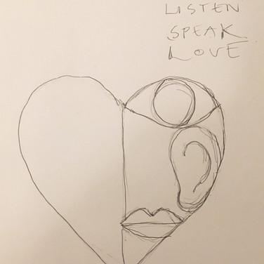 Wayne Gross, Watch Listen Speak Love, 2020, pencil on paper